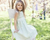Special occasion girl dress -  flower girl mint linen dress -wedding girl dress - Toddler girl dress