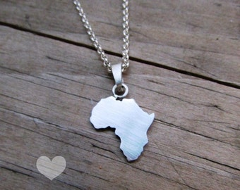 Africa necklace, africa pendant, african necklace, african jewelry, sterling silver, handmade, africa outline, africa silhouette