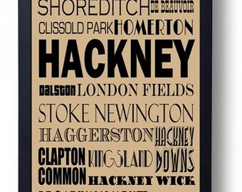 Hackney, London (Dalston, Stoke Newington Shoreditch) Typography Wall Art Poster