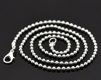 """10 Silver Plated Ball Chain Necklaces 20"""" with Lobster Claw Clasps Great Quality N9"""