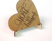 Heart Shaped Custom Wooden Valentine with Display Easel