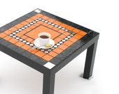Coffee table modern furniture orange and black mosaic home decor side cocktail table with mirror pieces