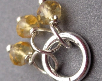 Citrine Gemstone Trio, Citrine Charm, Citrine Jewelry, Birthstone Charm, Bead Wire Wrapped Dangle with Sterling Silver Jump Ring