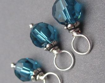 Indicolite Blue Swarovski Crystal Dangles, Stitch Markers, Swarovski Charms, Wire Wrapped Bead Dangles , 6mm Swarovski Crystals