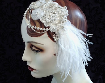Snow White Bridal Headband, 1920's Flapper Bridal Headpiece, Feather Fascinator, Rhinestone Beaded Bridal Headdress, White Wedding