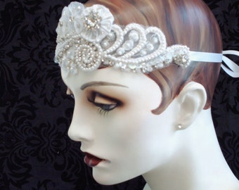 White Bridal Headband, Flapper Inspired Bridal Headpiece, Art Deco Style, Flapper Headband, 1920s Style, Retro Weddings, Bridal Accessories