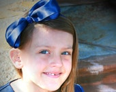 Extra Large Satin Tuxedo Bow with Glitter Ribbon Center in Navy for Girls, Women, Teens, Tweens, Prom, Choir, Dance