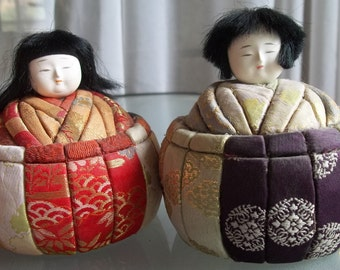 Chinese Roly-Poly Figures, Vintage Asian Dolls, Collectible, Home Decor