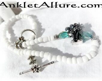 Under the Coconut Tree Anklet Aqua Crystal Ankle Bracelet Tropical Palm Anklet