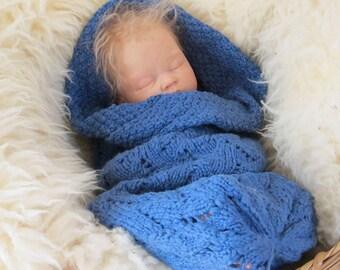 Organic Newborn Cocoon Blue Waves Style Cotton Bunting