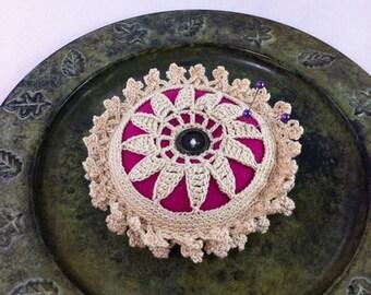 Crocheted flower pincushion - crochet pincushion - felt pincushion - flower pincushion - magenta pincushion