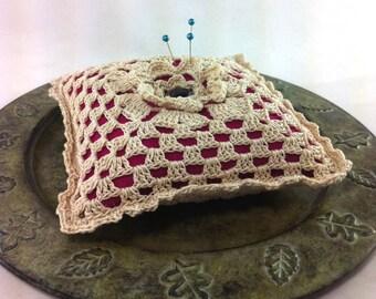 Crocheted flower pincushion - crochet square pincushion - felt pincushion - flower pincushion - magenta pincushion