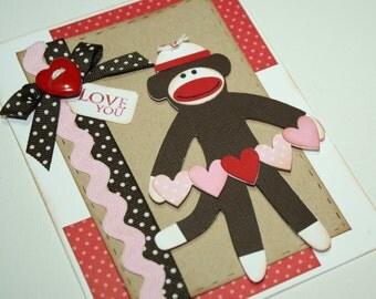 Sock Monkey Valentine card - I love you card, sock monkey holding heart banner