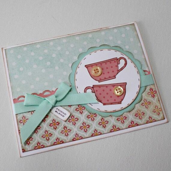 Teacup Greeting card Friendship card tea by JillyBearDesigns