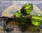The Sun on Green, Hand-Crafted Peridot Green Art Glass Earrings