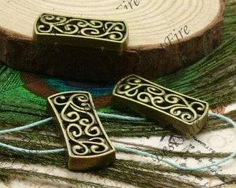 10pcs of Antique brass 2 holes flower partition findings ,Charms Bracelet Connectors Pendant 11x25mm