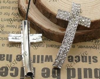 2pcs of 24x46mm silver tone Sideways Cross Rhinestone Connector,Cross Bracelet Connector,bangle findings