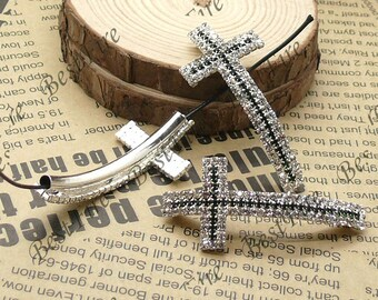 2pcs of 24x46mm silver tone Sideways Cross white and black Rhinestone Connector,Cross Bracelet Connector,bangle findings