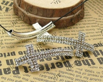 2pcs of 24x53mm Silver tone  Cross two color  Rhinestone Connector,Cross Bracelet Connector,bangle findings