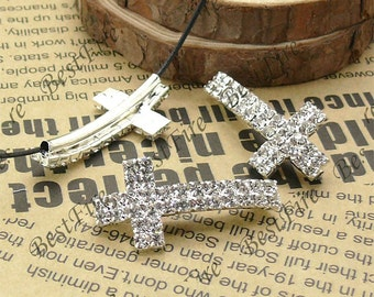 2pcs of 18x36mm Silver tone Sideways Cross white Rhinestone Connector,Cross Bracelet Connector,bangle findings