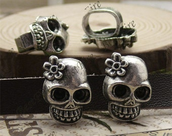 10pcs 13x18mm Antique Silver flower skull partition findings, metal beads spacers finding beads