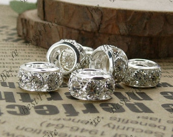 10 pcs of 7x12mm Silver white Rhinestone Spacers,whell Connector,findings beads