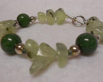 Prehnite & Jade with Tree Agate Bracelet