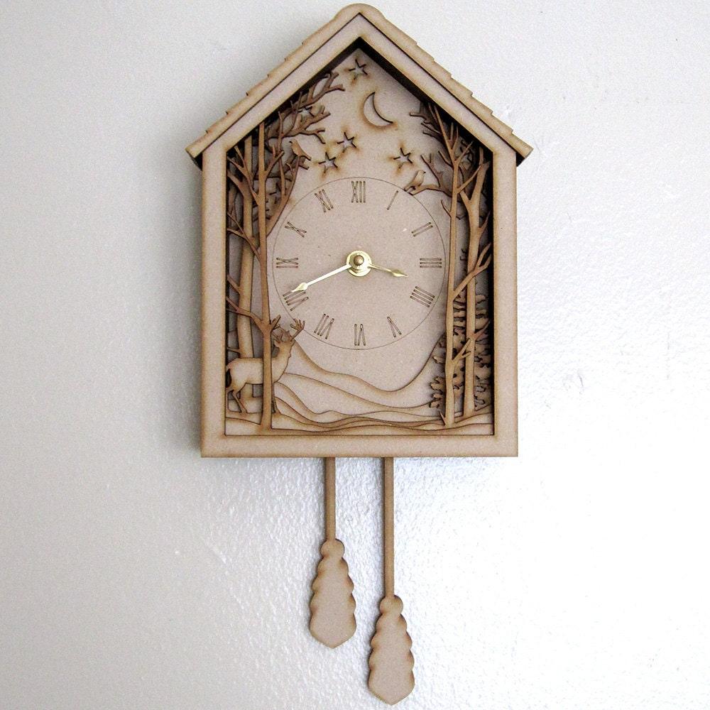 Cuckoo Clock Winter Midnight Forest Diorama Laser Cut Wood