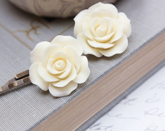 Ivory Rose Bobby Pins Cream Wedding Hair Clip Romantic Country Bridal Hair Slides Off White Large Rose Flower Bobby Pins Roses for Hair