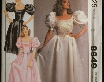 McCalls 8849  Misses Special Occasion Dress or Gown Vintage Sewing Pattern Sz 8 or 12