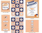 DIY -  Printable: Sports Birthday Party Set -  16 items (invitation, party circles, water bottle labels, banner and more)