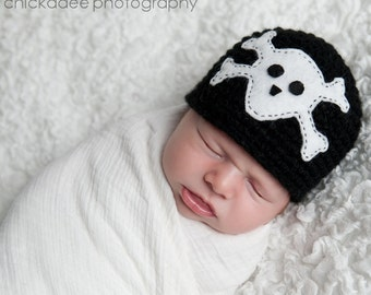 SKULL & CROSSBONES Crochet Hat Baby Newborn 0 3 6 12 Months 1T 2T 3T 4T Child Teen Adult