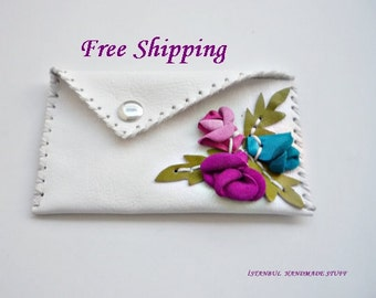 Leather Business Card Holder, Credit Card Case,Small Wallet, Iphone4 case with 3 D Rosebuds/ FREE shipping