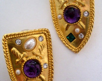 Classic Family Crest Gold Jewel Earrings  LJO Collection  Jewelry