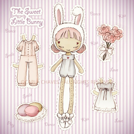 The Sweet Little Bunny paper doll - made to order