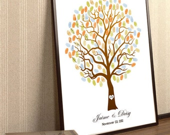Fall Wedding Tree Guestbook, Autumn Guestbook Alternative To Be Personalized With Guest's Fingerprints - 17x22-Wedding Guest Book tree