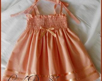 Light salmon color dress for baby girls, Sun dress-Spring dress, Baby salmon color dress, Easter dress, Birthday dress, toddler dress