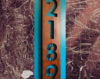 Custom Modern Floating House Numbers Vertical in Rusted Steel