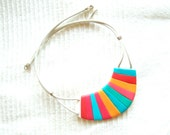 Neon geometric teal-blue-pink-tangerine white polymer clay bib necklace Cheshire Cat Grin Necklace spring summer color fashion necklace ooak