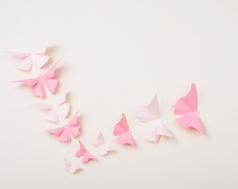 3D Nursery Butterflies: Light Pink Butterfly Wall Art for Nursery Decor, Little Girl's Room | Pale Pink and Cotton Candy