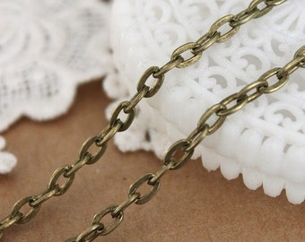 16.5 Feet (3.3x5mm) Chain Antique Bronze  Cross O  Chains Perfect for  Necklaces   (CHAINSS-20)