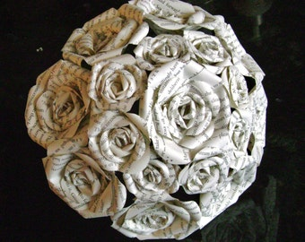 book page recycled paper rose bouquet alternative wedding bridesmaid toss Harry Potter Princess Bride Jane Austen Les Mis Great Gatsby