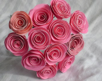 one dozen  small pink spiral rolled  paper roses bouquet made from cardstock paper alternative flowers