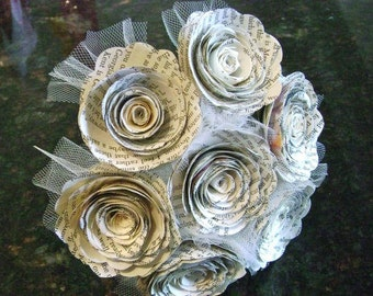 7 spiral 2 inch rolled book page roses alternative wedding bouquet with tulling added recycled library centerpiece flower girl