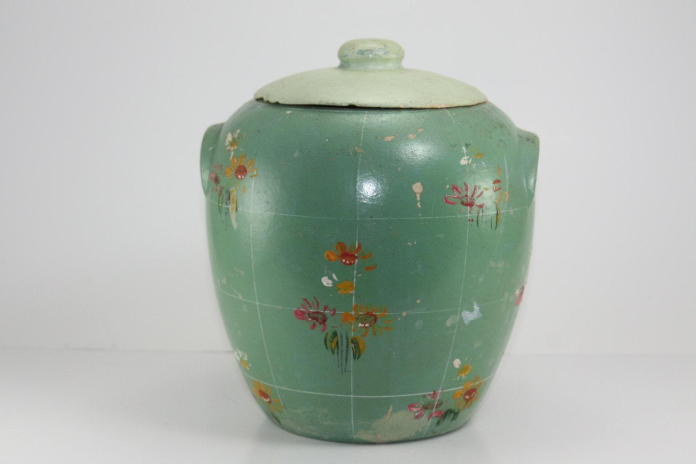 Vintage Mccoy Cookie Jar Aqua Painted Stoneware Crock