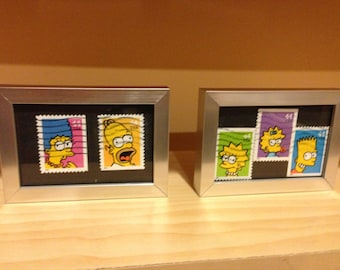 The Simpsons - Recycled postage stamp Framed Art - Marge, Homer, Bart, Lisa, Maggie Flanders Ralph