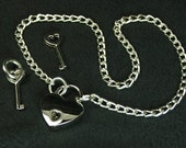 BDSM jewelry submissive Jewelry Heart lock necklace mature locking jewelry