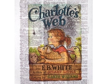Charlotte's Web Book Cover on a Vintage Dictionary Page