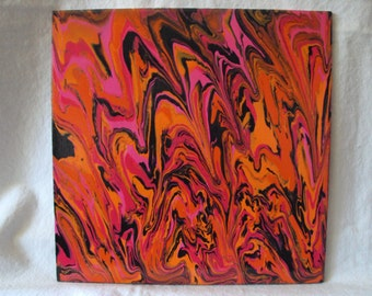 Bright Abstract Swirls Pinks,Oranges and Black Acrylic Painting on Wood