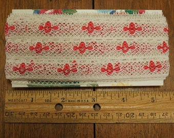 Lace Raspberry and Off White 10 Yards
